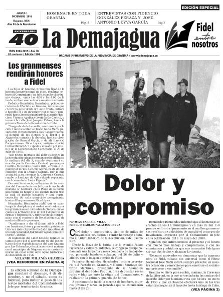 Edición impresa 1308 de La Demajagua como homenaje póstumo a Fidel Castro (PDF)