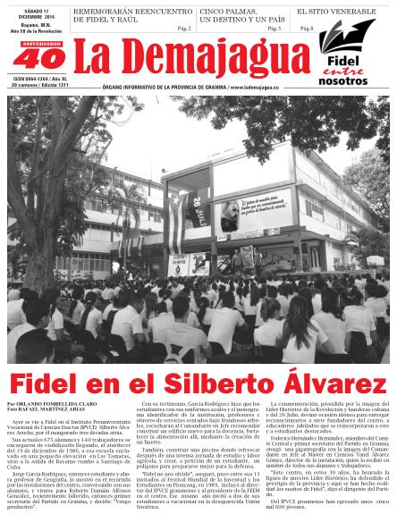 Edición impresa 1311 del semanario La Demajagua, sábado 17 de diciembre de 2016
