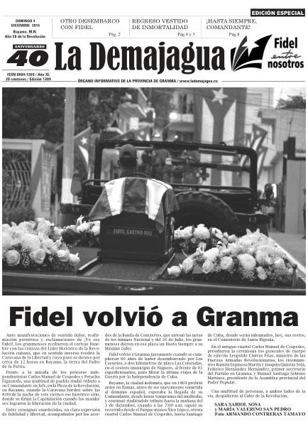 Edición especial impresa 1309 del semanario La Demajagua, domingo 4 de diciembre de 2016