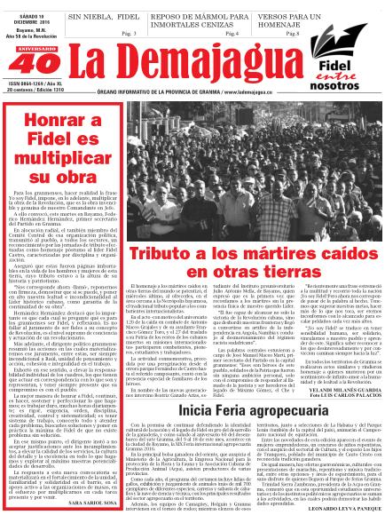 Edición impresa 1310 del semanario La Demajagua, sábado 10 de diciembre de 2016