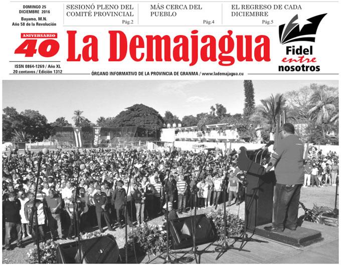 Edición impresa 1312 del semanario La Demajagua, sábado 25 de diciembre de 2016