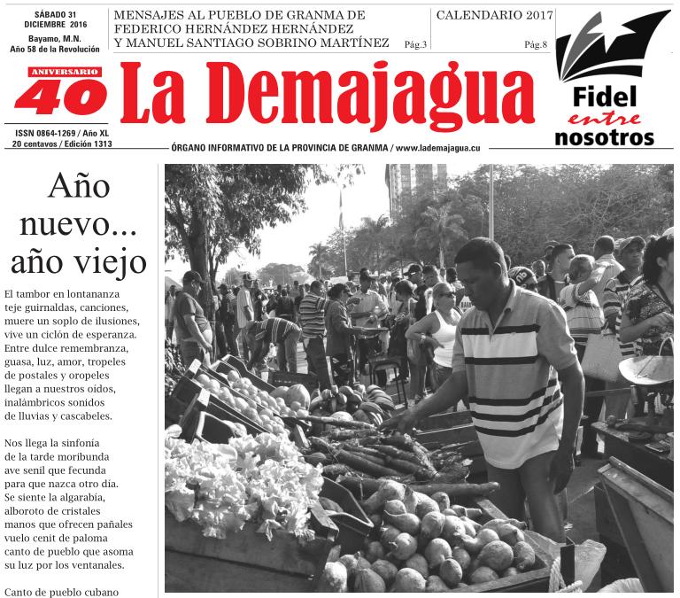 Edición impresa 1313 del semanario La Demajagua, sábado 31 de diciembre de 2016