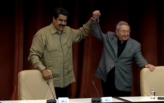 Presiden Raúl Castro y Nicolás Maduro acto de solidaridad con Venezuela