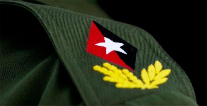 Grados de Comandante en Jefe: el rombo rojo y negro, con la estrella blanca en el centro. Y alrededor del rombo bicolor, una rama de olivo y otra de laurel, con cinco hojas cada una de color amarillo.