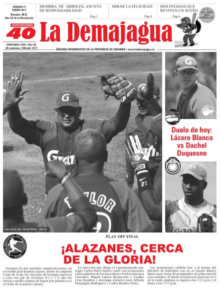 Edición impresa 1317 del semanario La Demajagua, sábado 21 de enero de 2017