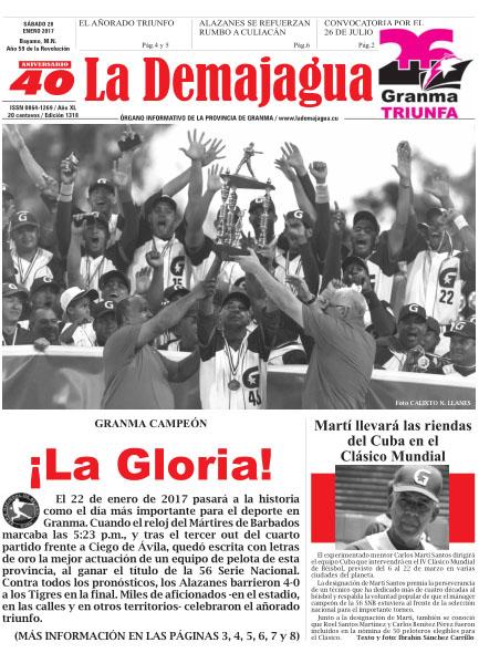 Edición impresa 1318 del semanario La Demajagua, sábado 28 de enero de 2017