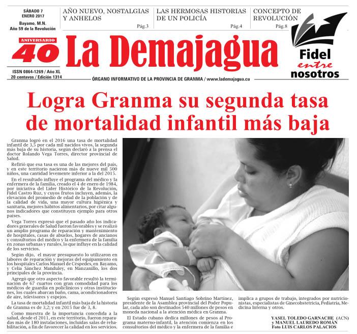 Edición impresa 1314 del semanario La Demajagua, sábado 7 de enero de 2017