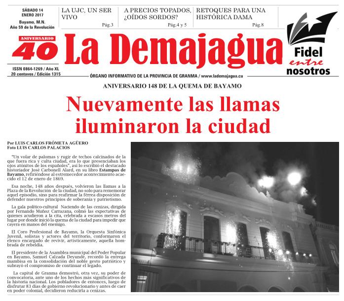 Edición impresa 1315 del semanario La Demajagua, sábado 14 de enero de 2017