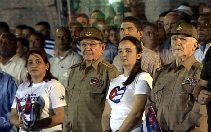 Raúl Castro en la Marcha de las antorchas