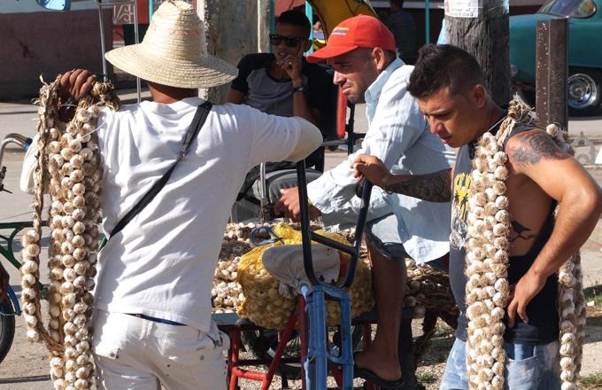 Los vendedores  de ajo insisten en vender por unidades> cabezas, patas y ristras FOTO/Luis C. Palacios Leyva