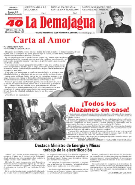 Edición impresa 1320 del semanario La Demajagua, sábado 11 de febrero de 2017