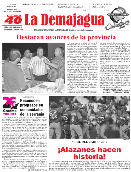 Edición impresa 1319 del semanario La Demajagua, sábado 4 de febrero de 2017