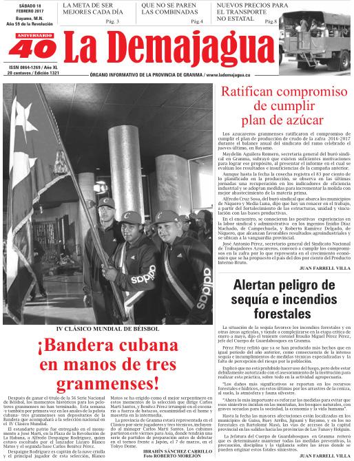Edición impresa 1321 del semanario La Demajagua, sábado 18 de febrero de 2017