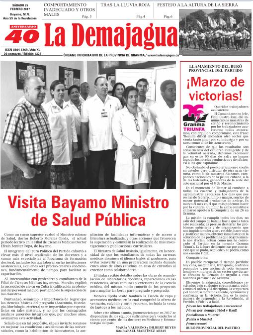 Edición impresa 1322 del semanario La Demajagua, sábado 25 de febrero de 2017