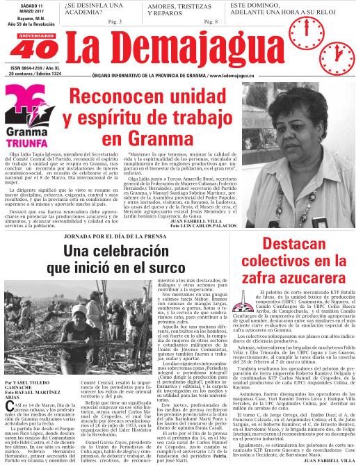 Edición impresa 1324 del semanario La Demajagua, sábado 11 de marzo 2017
