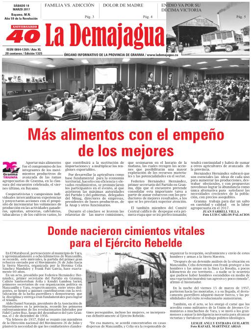 Edición impresa 1325 del semanario La Demajagua, sábado 18 de marzo 2017