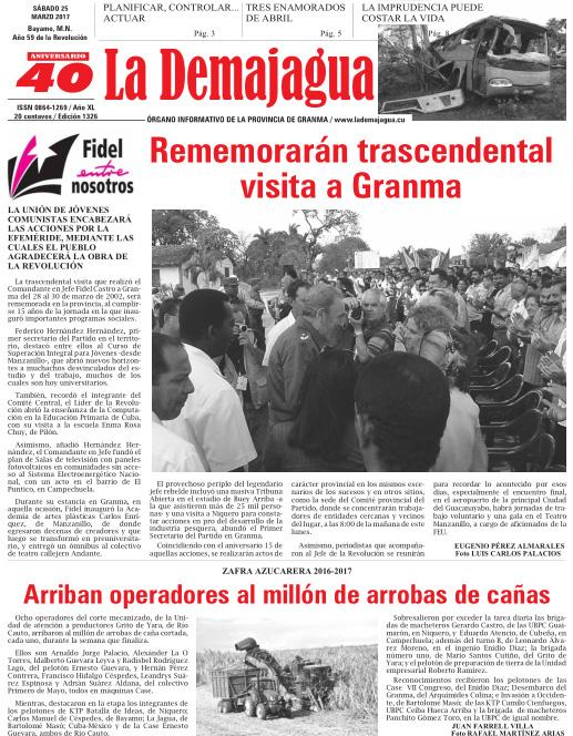 Edición impresa 1326 del semanario La Demajagua, sábado 25 de marzo 2017