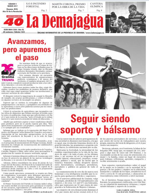 Edición impresa 1323 del semanario La Demajagua, sábado 4 de marzo 2017