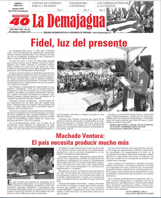 Edición impresa 1327 del semanario La Demajagua, sábado primero de abril 2017