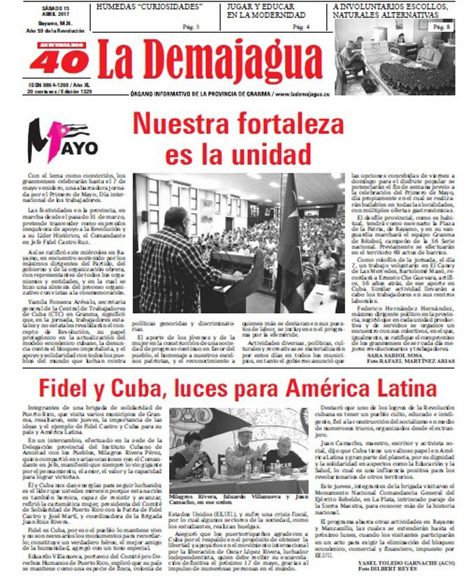 Edición impresa 1329 del semanario La Demajagua, sábado 15   de abril 2017