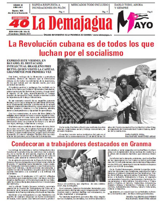 Edición impresa 1331 del semanario La Demajagua, sábado 29 de abril 2017