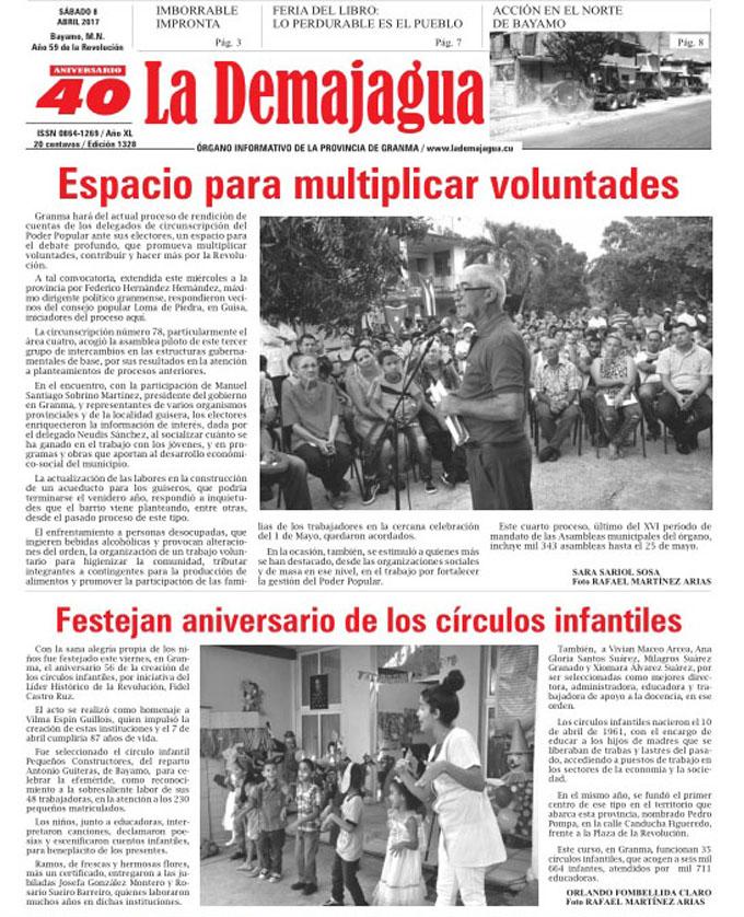 Edición impresa 1328 del semanario La Demajagua, sábado 8 de abril 2017