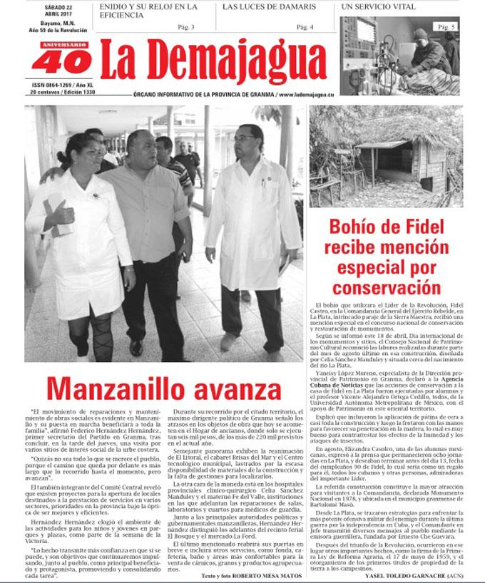 Edición impresa 1330 del semanario La Demajagua, sábado 22   de abril 2017