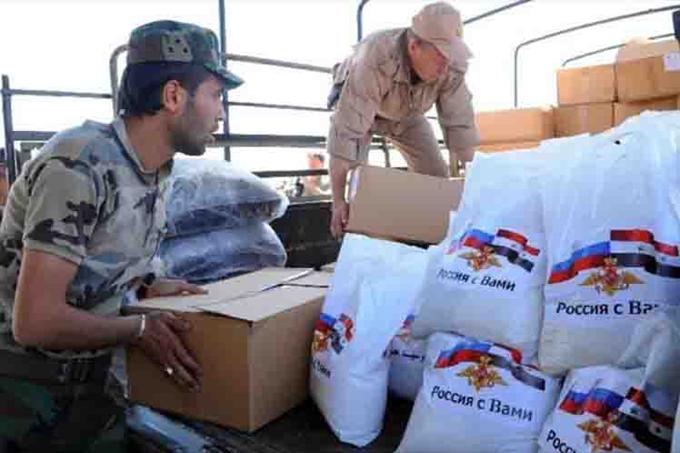 Distribuyen ayuda humanitaria rusa en varias regiones sirias