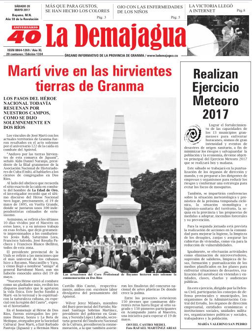 Edición impresa 1334 del semanario La Demajagua, sábado 20 de mayo de 2017