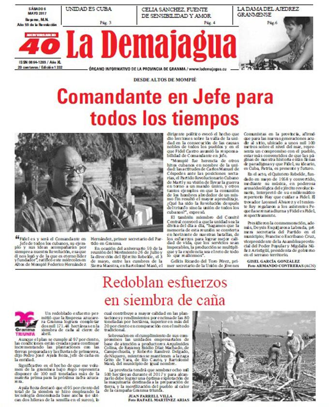 Edición impresa 1332 del semanario La Demajagua, sábado 6 de mayo 2017