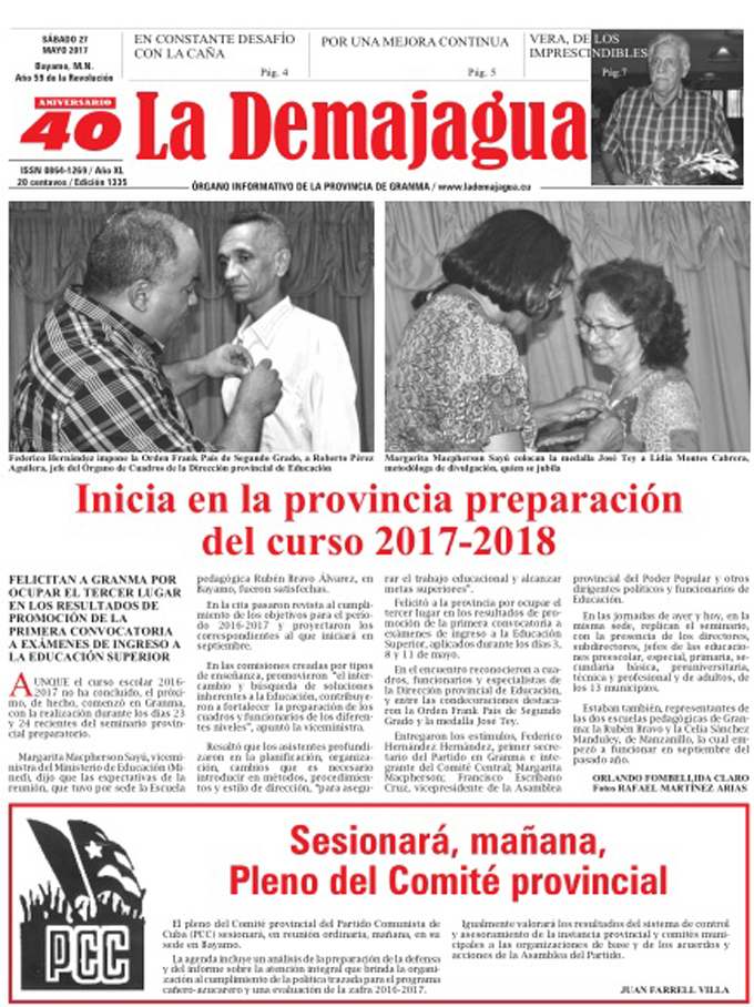 Edición impresa 1335 del semanario La Demajagua, sábado 27 de mayo de 2017