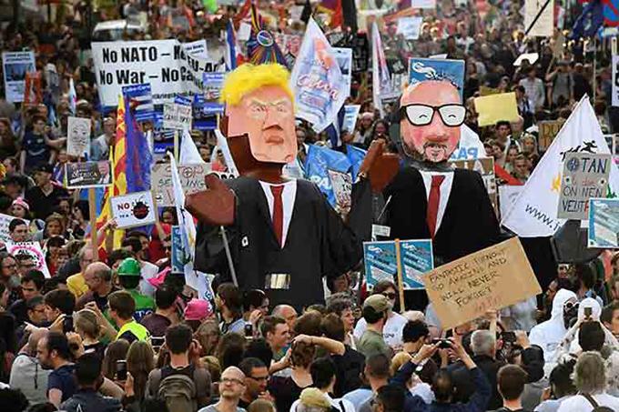 Protestas en Bruselas contra la OTAN