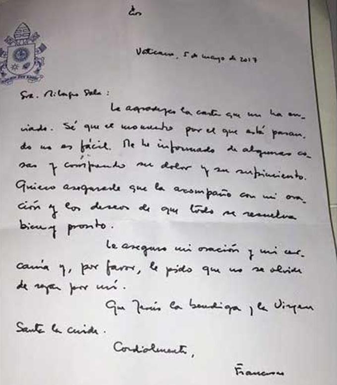 Papa Francisco envía misiva a líder social encarcelada Milagro Sala