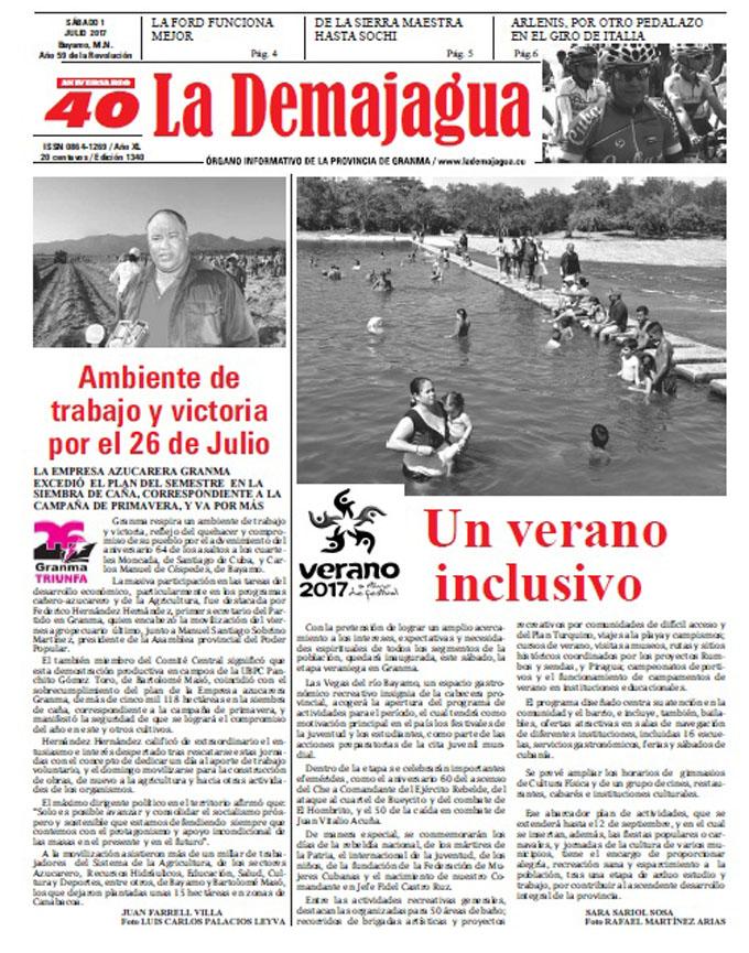 Edición impresa 1340 del semanario La Demajagua, sábado 1 de julio de 2017