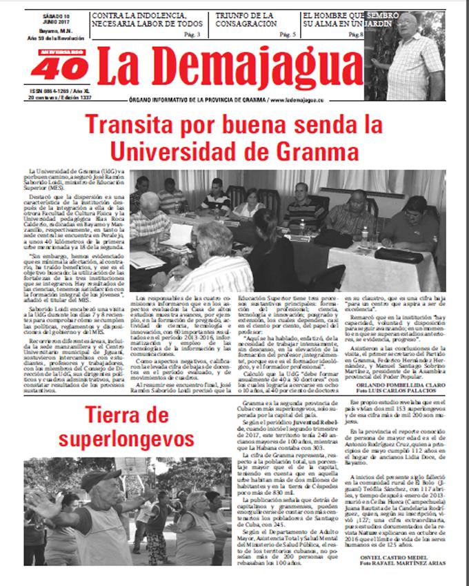Edición impresa 1337 del semanario La Demajagua, sábado 10 de Junio de 2017