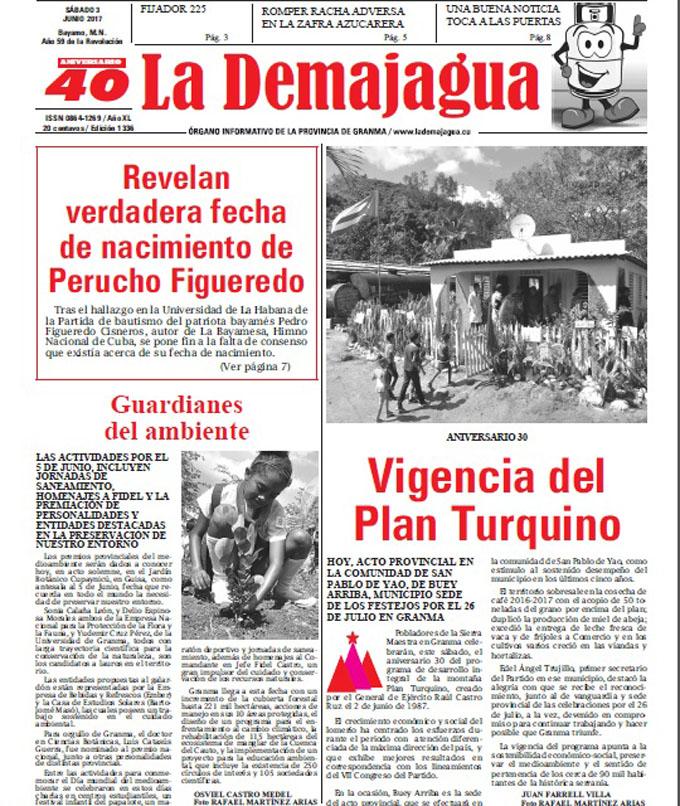 Edición impresa 1336 del semanario La Demajagua, sábado 3 de Junio de 2017