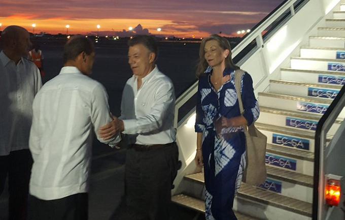 Presidente Juan Manuel Santos en Cuba para visita oficial