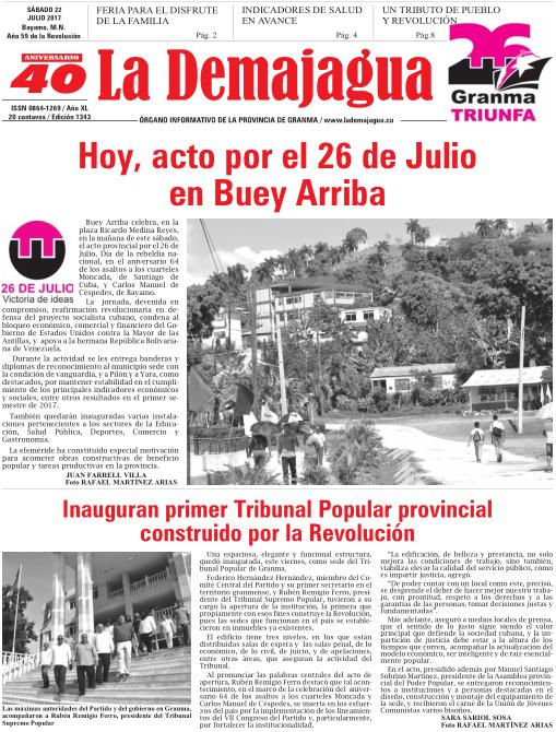 Edición impresa 1343 del semanario La Demajagua, sábado 22 de julio de 2017