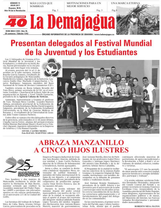 Edición impresa 1342 del semanario La Demajagua, sábado 15 de julio de 2017