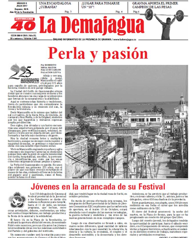 Edición impresa 1341 del semanario La Demajagua, sábado 8 de julio de 2017