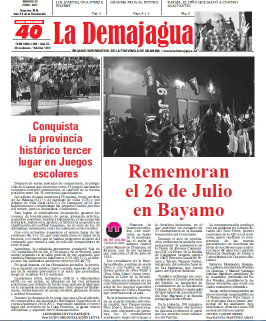 Edición impresa 1344 del semanario La Demajagua, sábado 29 de julio de 2017