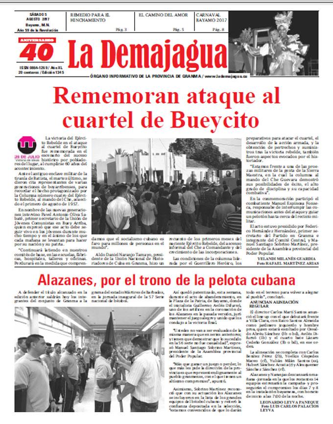 Edición impresa 1345 del semanario La Demajagua, sábado 5 de agosto de 2017