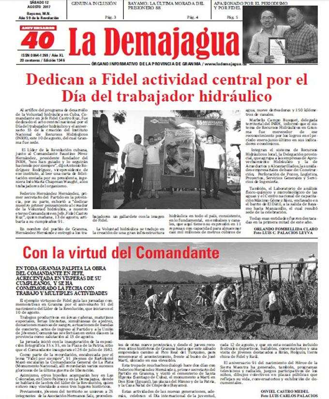 Edición impresa 1346 del semanario La Demajagua, sábado 12 de agosto de 2017
