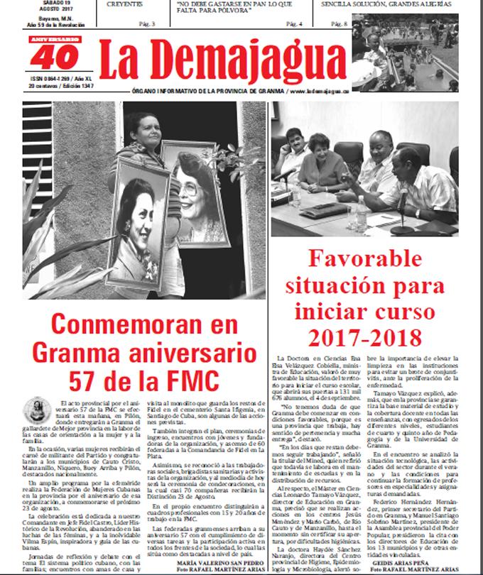 Edición impresa 1347 del semanario La Demajagua, sábado 19 de agosto de 2017