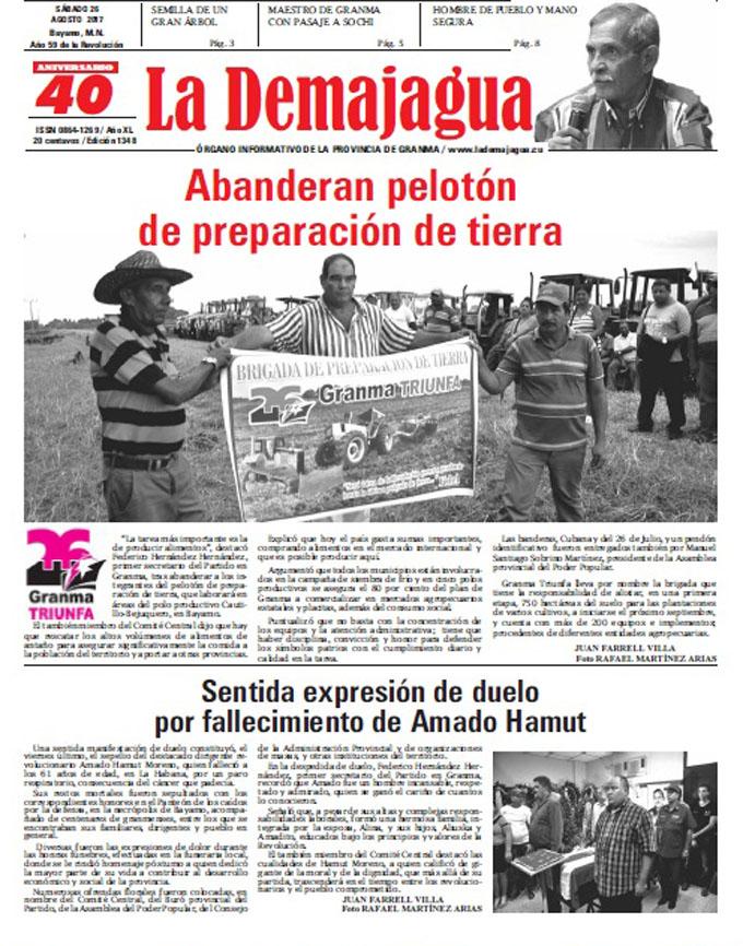 Edición impresa 1348 del semanario La Demajagua, sábado 26 de agosto de 2017