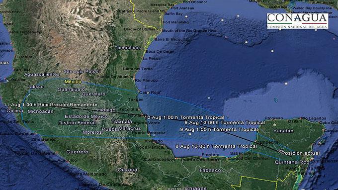 Tormenta Franklin se debilita a su paso por la Península de Yucatán