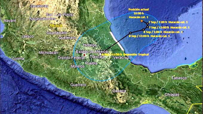 Alerta máxima por Katia en estados mexicanos de Veracruz y Tamaulipas