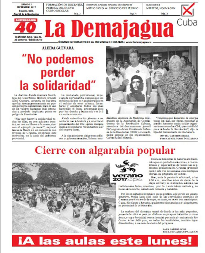 Edición impresa 1349 del semanario La Demajagua, sábado 2 de septiembre de 2017