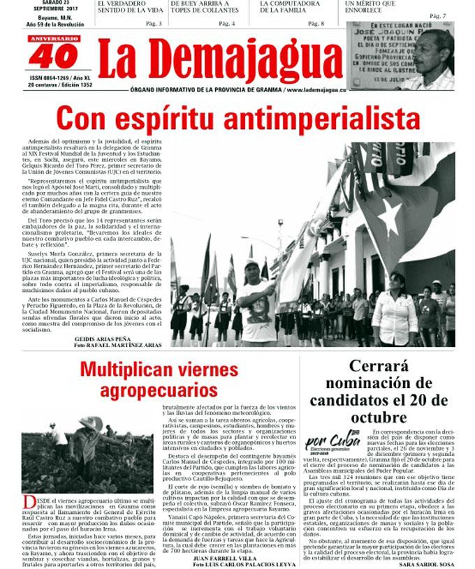 Edición impresa 1352 del semanario La Demajagua, sábado 23 de septiembre de 2017