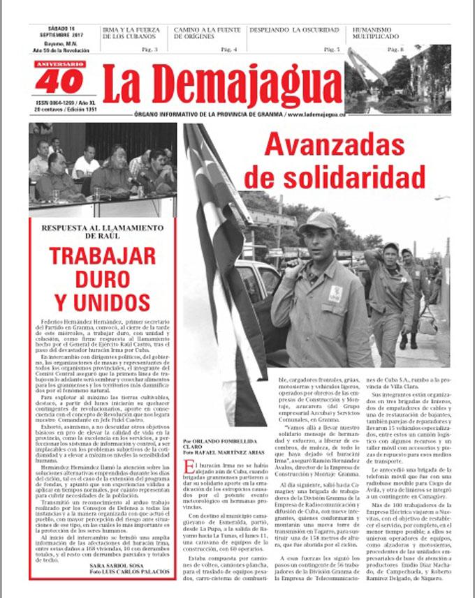 Edición impresa 1351 del semanario La Demajagua, sábado 16 de septiembre de 2017